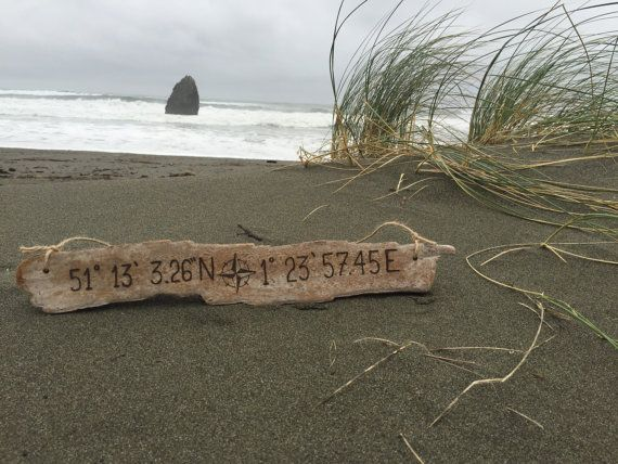 Longitude Latitude Sign | Custom GPS coordinates engraved driftwood beach sign - housewarming gift, new home, fathers day, couple wedding