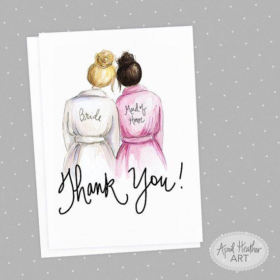 Thank+you!+Maid+of+Honor+PDF+Blonde+Bun+Bride+and+Dark+Brunette+Bun+Maid+of+Honor,+Thank+you+card+PDF+printable+card