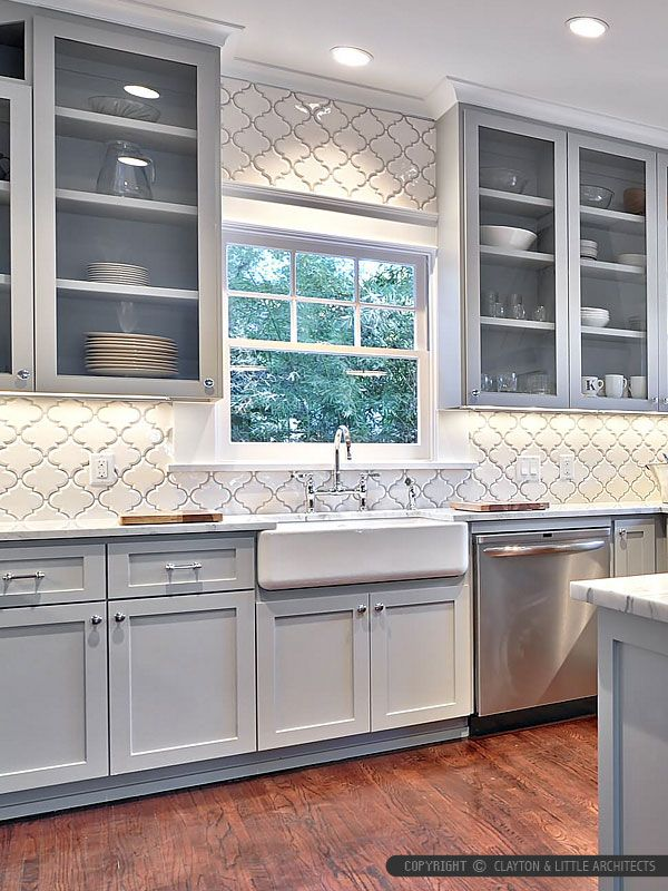 Arabesque Ceramic Backsplash - maybe in grey?