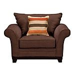 """The Bianca Living Room features a full wood base semi attached design.   Cushions are covered in chenille.  Welted cushions and arms.  Rolled arms.  Solid wood legs.  Includes accent pillow.  Available in Honey or Chocolate.  Coordinating Loveseat, Sofa and Ottoman also available.    SKU: 1503669 - Bianca Chocolate Chair   Livingroom Chai - 54""""W x 39""""D x 39""""H"""