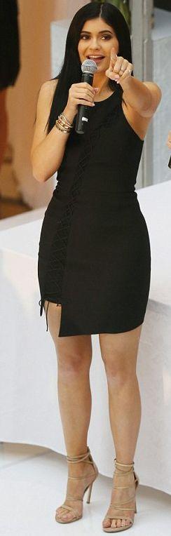 Mail Online Kylie Jenner - Black Lace Up Little Dress Celebrity Style Inspo