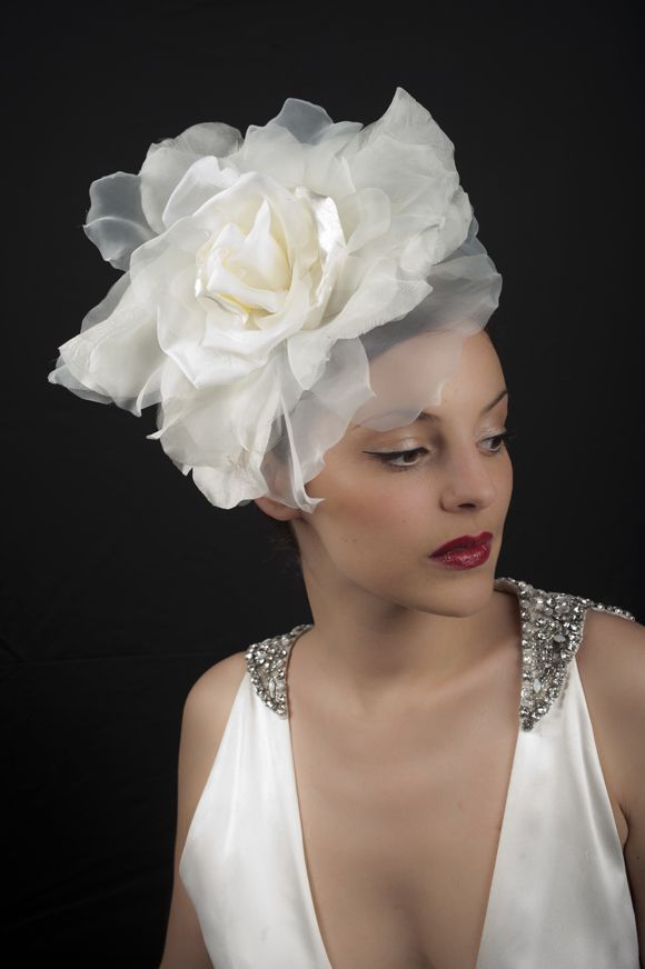 Vivien Sheriff Millinery ~ Vintage Inspired Wedding Veils and Bridal Headwear... oversized chiffon rose headband