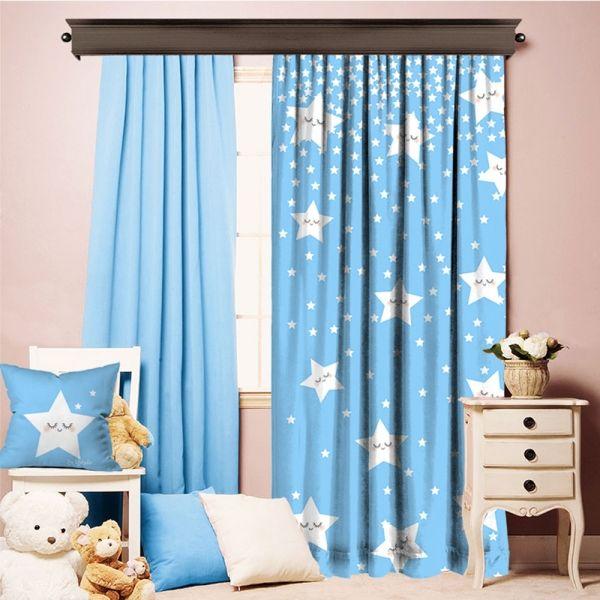 Sevimli Uyuyan Yıldızlar Mavi Tek Kanat Perde