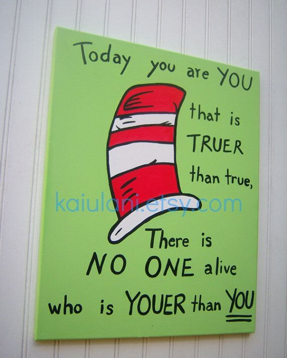 Dr. Seuss Cat In The Hat Kids Wall Art Painting - 16 x 20 canvas on Etsy, $52.70 CAD