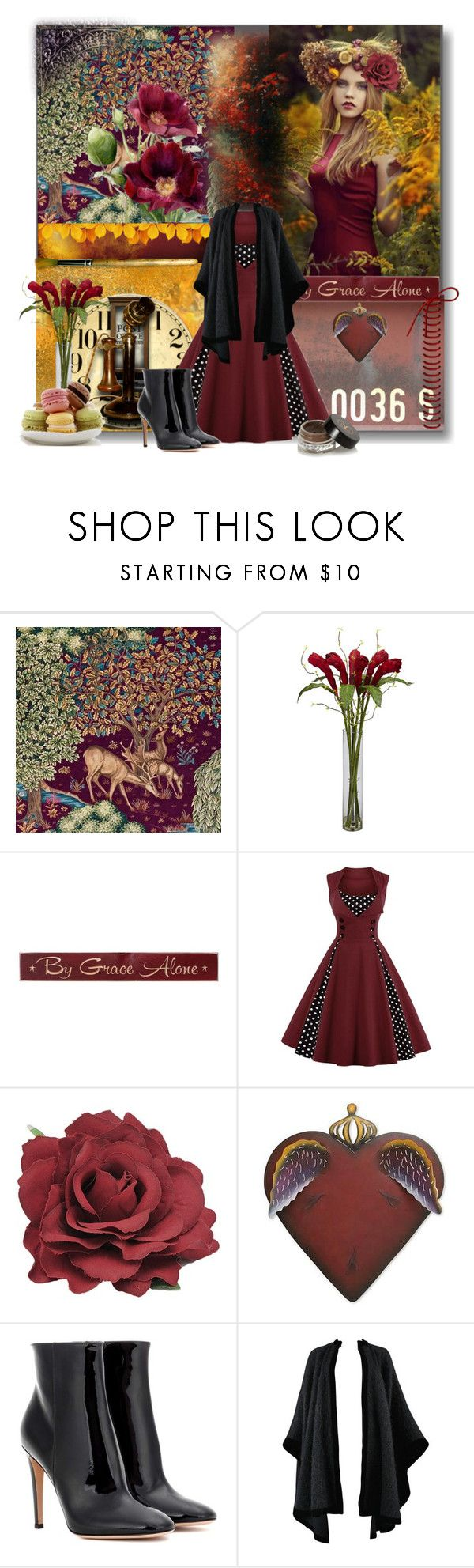 """""""Back To Nature....."""" by nz-carla ❤ liked on Polyvore featuring Nearly Natural, DutchCrafters, NOVICA, Gianvito Rossi, Yves Saint Laurent and Anastasia Beverly Hills"""