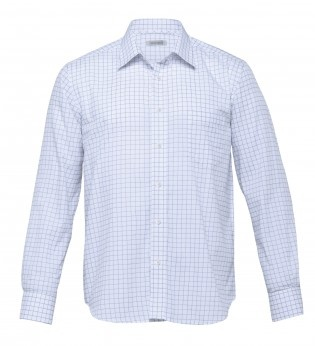 The Axiom Check Shirt - Mens - (TAX). 55% cotton 45% polyester yarn dyed check | Tapered fit | Fashion collar | Single breast pocket  Colours: white/mid blue