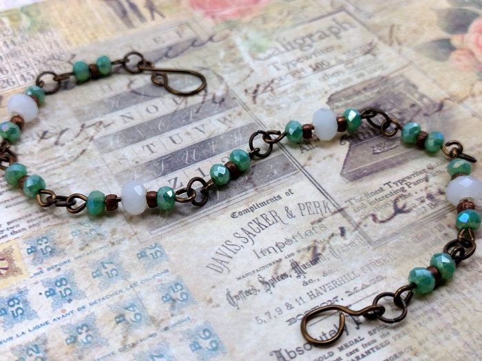 White Faceted Crystal Green Faceted Crystal with Fire Wash with Natural Copper Bead Link Bracelet by KoningStilsonDesign on Etsy