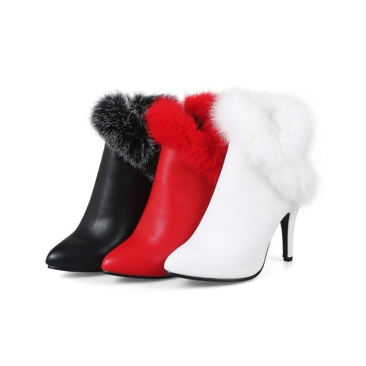 Fashion Womens Fur Ankle Boots Booties High Heel Winter Shoes Zipper Plus Size