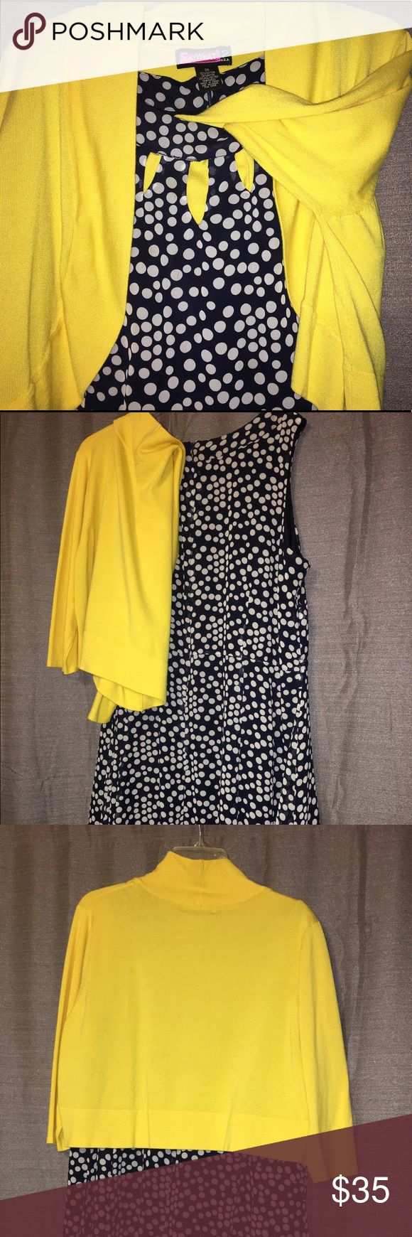 Yellow cropped cardigan and Navy dot dress Lemon yellow cropped cardigan (3x) and navy blue polka dot dress (22W). Worn once to a wedding. Pet free smoke free home. Dresses