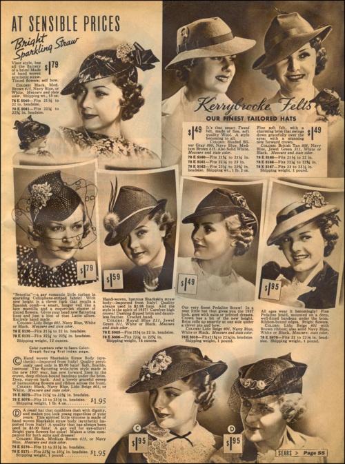 ladylikelady:    Ladies Hats/Sears Catalog, 1937    Fetching!