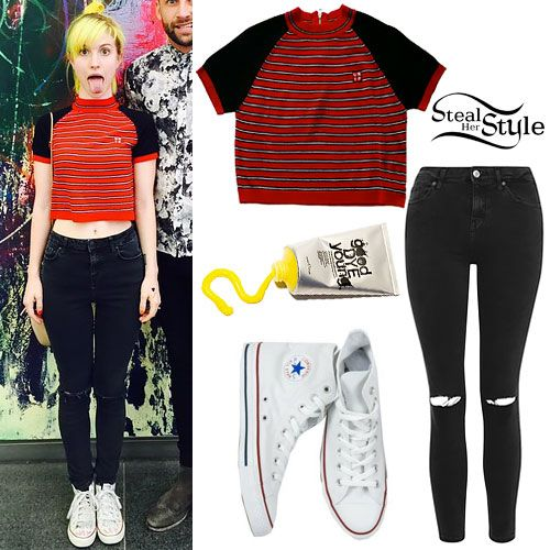 Hayley Williams: Striped Raglan, Ripped Jeans