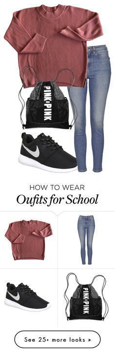 Back to school monday by alyssadesgrange on Polyvore featuring NIKE and Topshop – #alyssadesgrange #featuring #Monday #Nike #Polyv