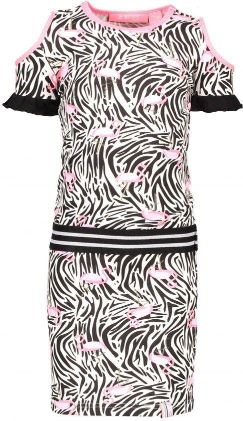 f76fa211df2aaa B.Nosy Meisjes Jurk Jersey Dress With open shoulder - Wit - Maat 122/128 |  Niene - Dresses, Skirt set en Skirts