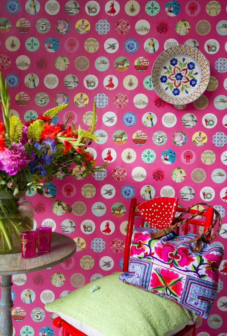 56 best travel the world images on pinterest true colors ole pink mural paper moon wallpapers a bold rose pink background with a montage of circular motifs depicting spanish themes this is a mural and is wide