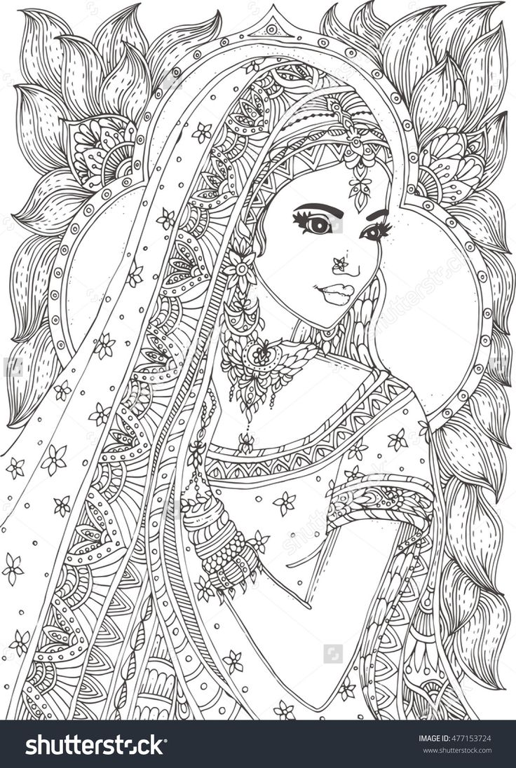 beautiful indian woman zendala coloring page : Shutterstock 477153724
