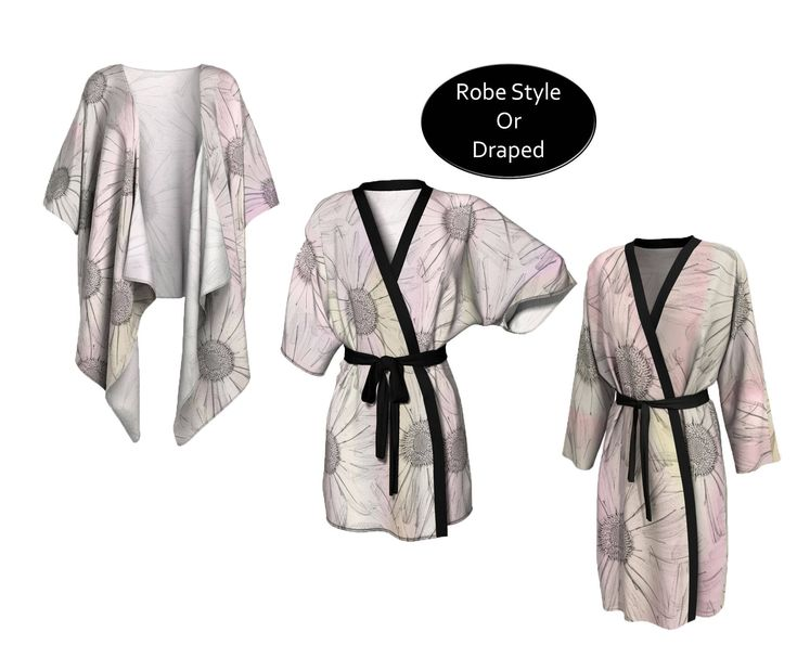 This pretty pastel kimono will add a feminine touch to your wardrobe. The colors include soft shades of pink and gray. This print is of oversized stylized images of daisies. Wear it for stylish weekend lounging or layer it for a boho styled outfit.   #Pastel #Pink #Kimono #Robe, #Boho #Bohostyle #Festival #FestivalFashion, #fashion #womensfashion #womens #womenswear #Coverup  by #WhimZingers on #Etsy #etsyseller #etsyshop #smallbusiness