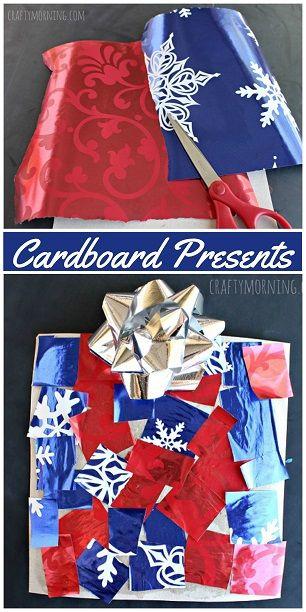 Cardboard Christmas Present Craft for Kids #Bulletin board idea   CraftyMorning.com