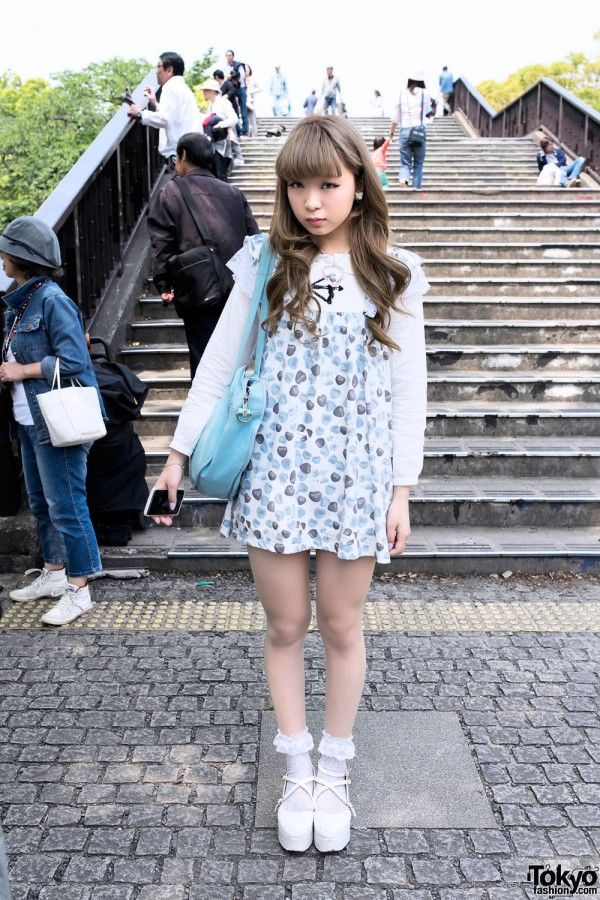 Candy Hearts Dress, Glass Heart Necklace & Ruffle Socks in Harajuku | it's her-> https://twitter.com/nanchan74