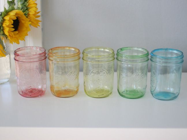 Tinted Mason Jars:  Mix food coloring with a T or so of water in a bowl. Add a couple T of mod podge into your mason jar. Add color into the jar and stir. Carefully twist the jar around coating the whole inside with the mixture. Pour excess out in a bowl. Let dry upside down on paper 30 min. Place the jars face down on wax paper and a cookie sheet into an oven, set on warm. Let dry upside down this way for about 10 min and then flip them over and let them dry another 20 min.
