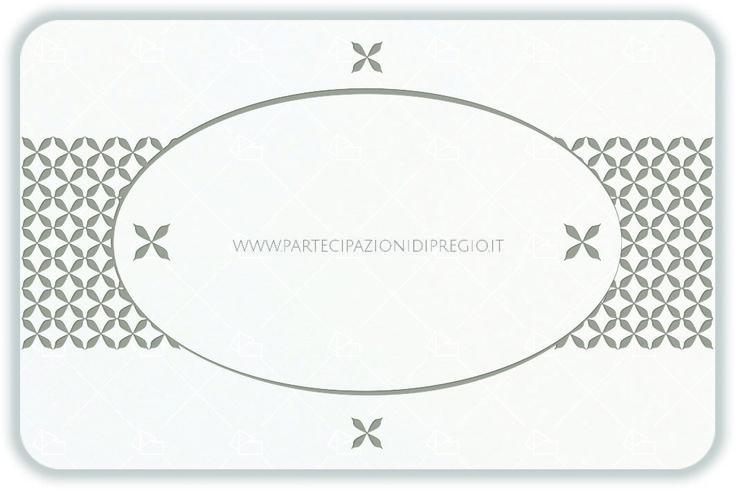 Partecipazione di matrimonio - dimensione: 17 x 11 - forma: Rettangolare angoli arrotondati - carta: Gmund Cotton - Max White - 300, 600, 900 gr. - linea: Ovale interno con fregi simmetrici - modello: Versione 1 - lavorazione press: cornici e fregi