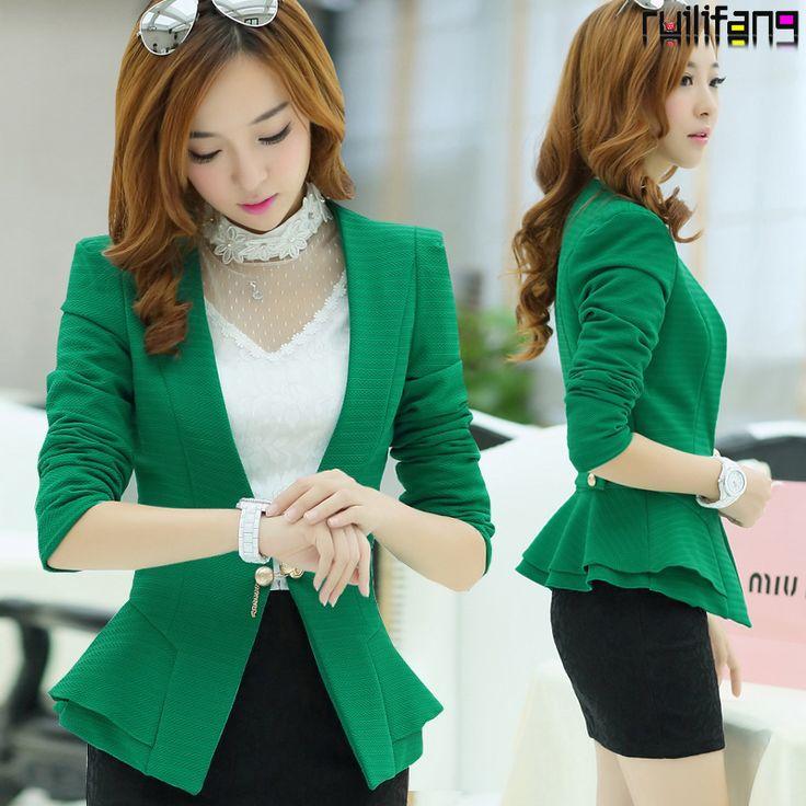 La primavera 2014 nuevo hembra de largo- manga corta slim fit botón de un traje de chaqueta botón uno ol delgada formales trajes de chaqueta verde. Blanco 780
