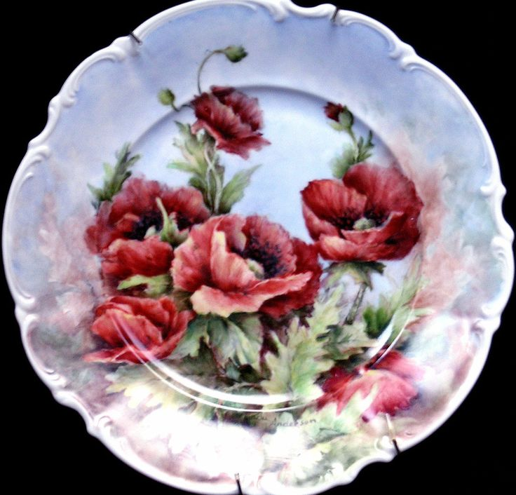 Red poppies on a 10 inch plate