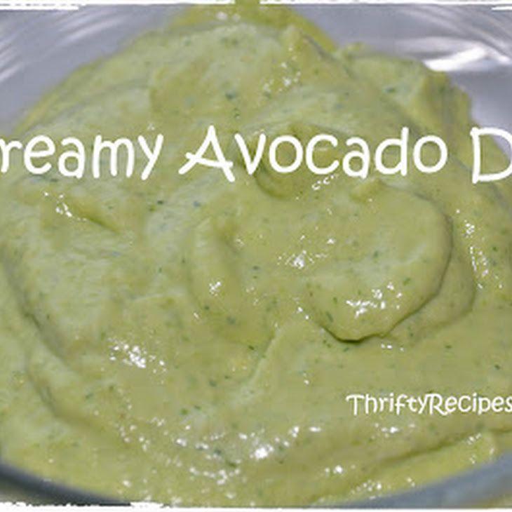 Creamy Avocado Dip Recipe Appetizers with avocado, garlic, chopped fresh cilantro, fresh lime juice, sour cream