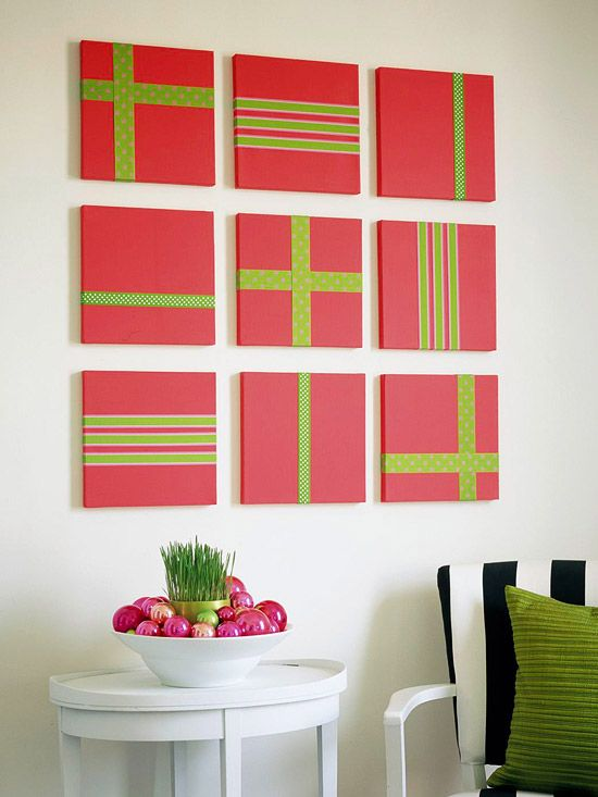 Cheery Wall Art - simple canvases painted and adorned with ribbon. Easy to coordinate with any season or holiday.: