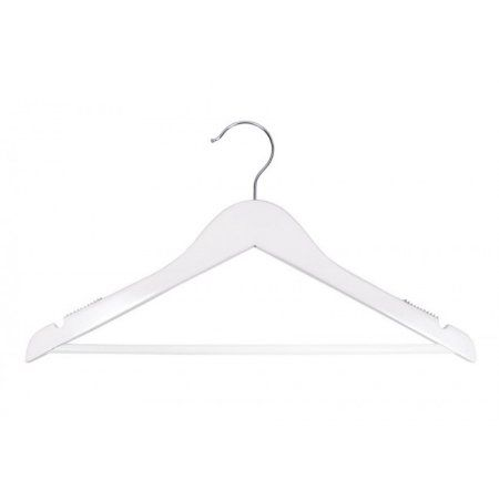 Wooden Suit Hangers - Nahanco Line - 17 inch High Gloss White - Home Use
