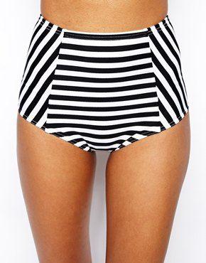 Bild 1 von ASOS – Mix & Match – Gestreifte Bikinihose mit hohem Bund