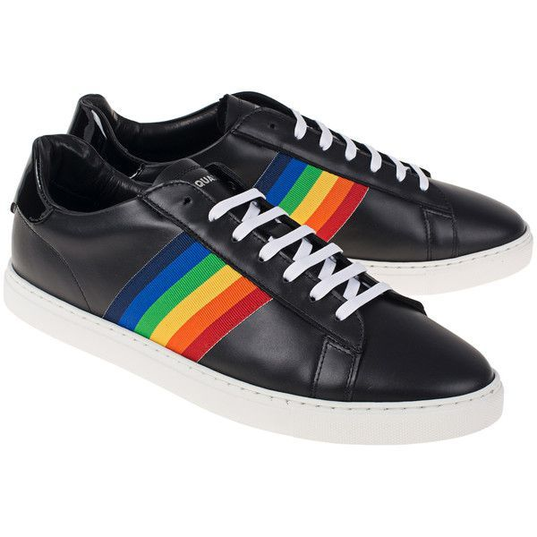 DSQUARED2 New Tennis Stripe Black    Sneaker with stripe detail ( 515) ❤  liked on Polyvore featuring men s fashion 96fb4fbebc1