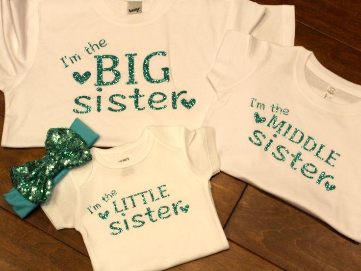 big sister, middle sister, little sister shirt set, sister shirts, big sister shirt, little sister shirt, middle sister shirt, sibling tops by PurpleAspen on Etsy