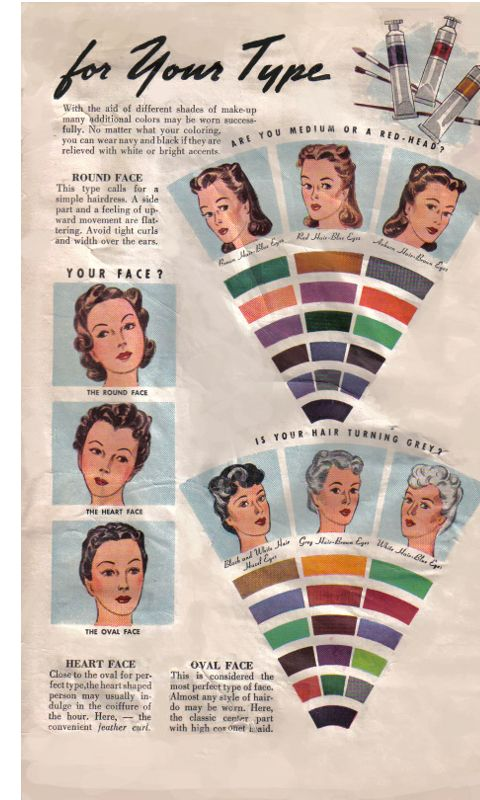 best colors for your type (2/2), 1940s: Vintage Va Pusher, Make Up, Faces Charts, Vintage Hair, Colors, Makeup, 1940S, Types 2 2, 1940 S Beautiful