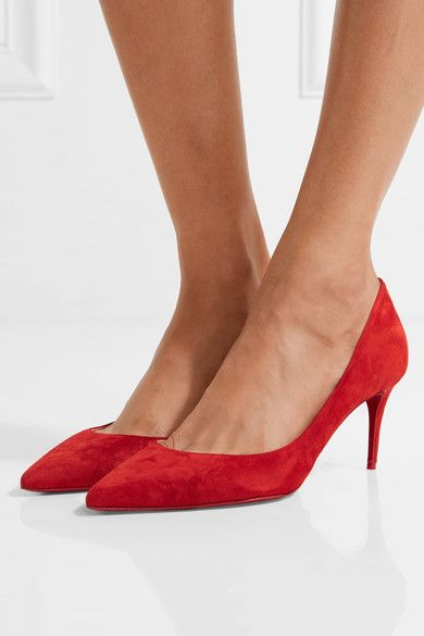 Heel measures approximately 70mm/ 3 inches Red suede Slip on Made in Italy