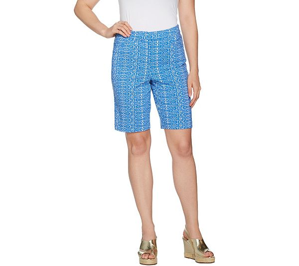 Embrace the warmer weather in these Bermuda shorts with a fun allover print on always-comfy Uptown Stretch fabric. From Susan Graver. QVC.com
