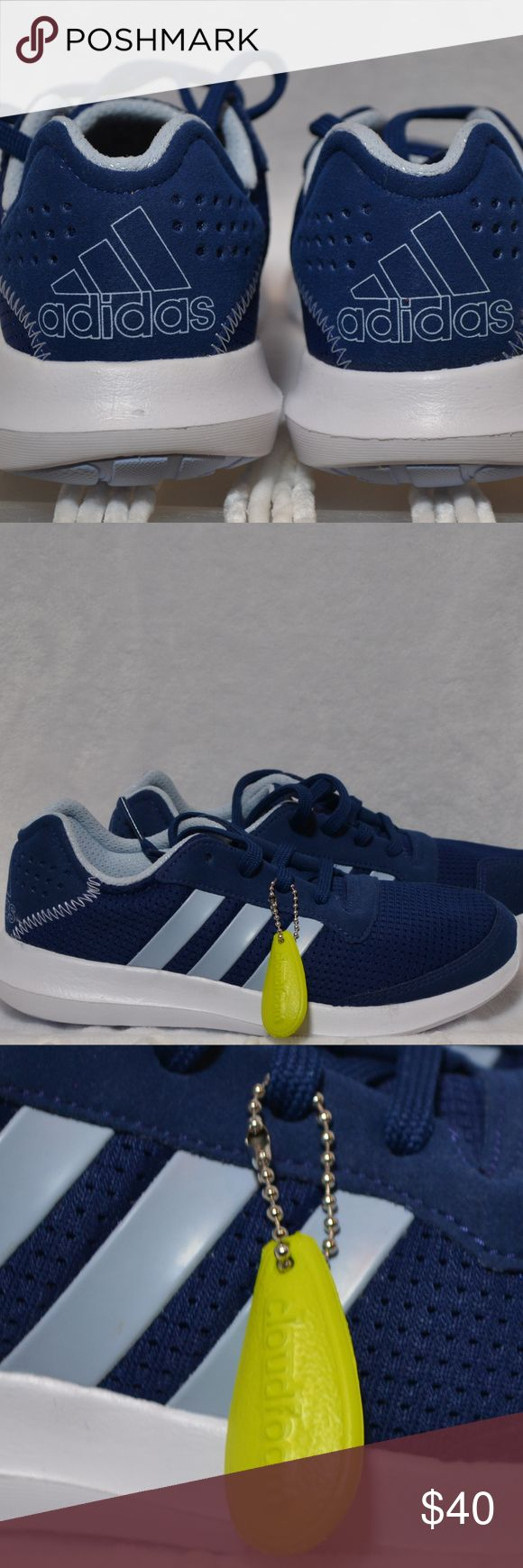 "ADIDAS Cloudfoam Running Shoes These brand new  Adidas shoes feature:  - Light weight sole with breath-able body - Navy blue on body with light blue accents - Key chain accessory with ""Cloudfoam"" on it  Would be happy to answer any measurement questions or other concerns:) adidas Shoes Athletic Shoes"