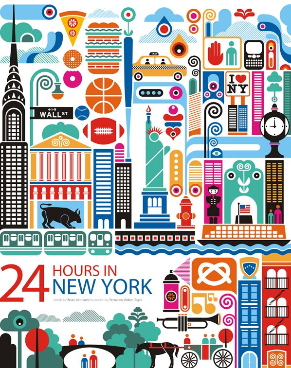 Great colours and great city! 24h in NYC, illustration by Fernando Togni
