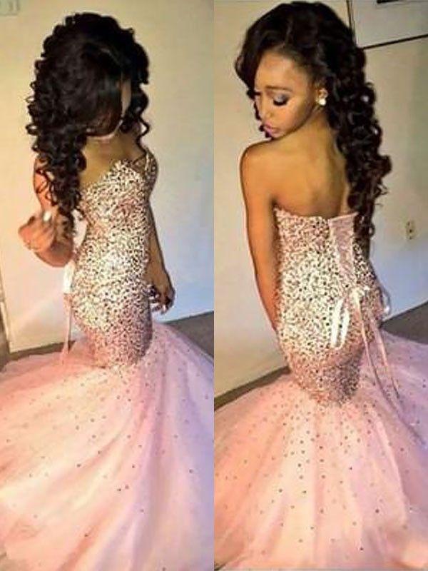 Sweetheart Tulle Mermaid Floor Length Dress