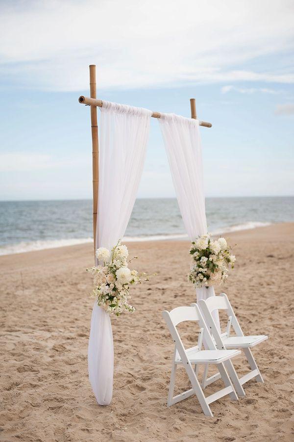 Simply chic beach wedding ceremony setup