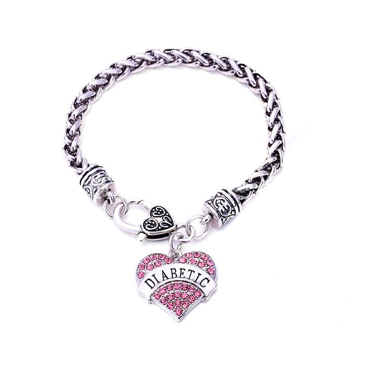 Medical Alert DIABETIC Bracelets With Crystal Heart Charm //Price: $13.95 & FREE Shipping //     #hashtag1