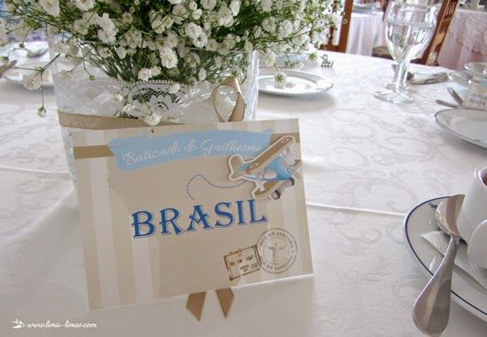 Each table was a country visited by the baby inside of the mother for this vintage travel plane party