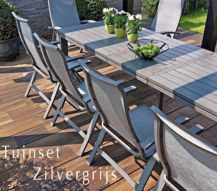 Tuinstoel ligstoel zilvergrijs geborsteld nataal grijs. #Lichtgewicht #tuinstoelen lichtgrijs #stapelbaar