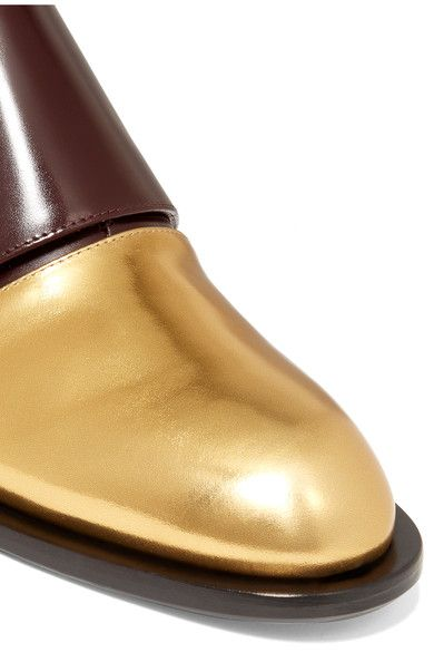 Marni - Metallic-paneled Leather Brogues - Burgundy - IT
