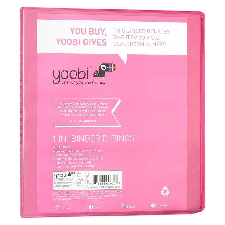 Yoobi 1 3 Ring Binder Pastel Pink