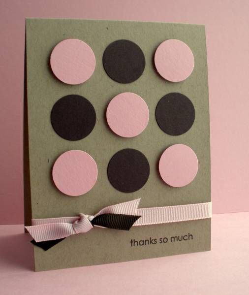 handmade card ... kraft base with pink and black ... nine patch grid of circles ... graphic look ... pink circles popped up ...  one-hole knot technique ... pleasing look!!