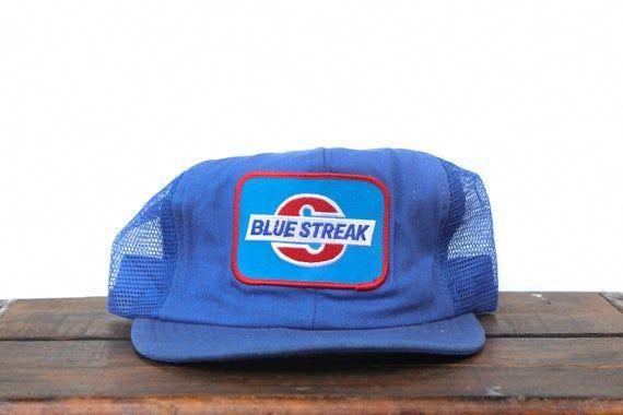 Trucker Hat Vintage Snapback Hat Baseball Cap Made In Usa Blue Streak Auto Parts Car Repair Garage M Hats Vintage Garage Repair Blue Streaks