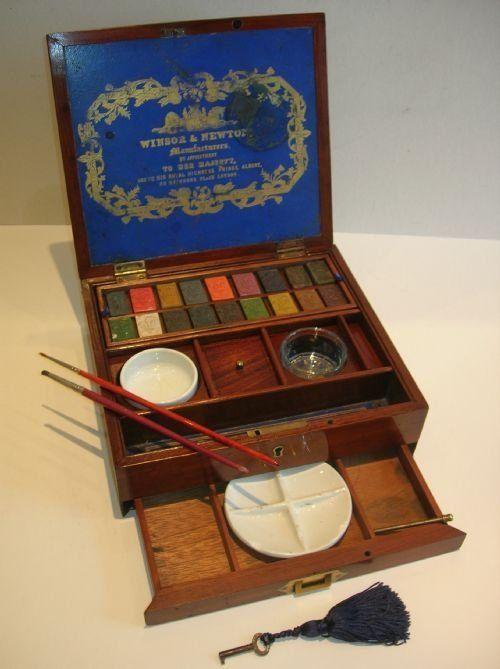 1850 Antique English Inlaid Mahogany Artist's Watercolour Box by Windsor & Newton.