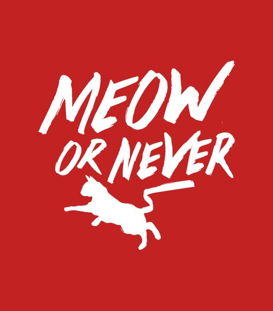 "Preferably now. ""Meow or Never"" red cat t-shirt. Graphic tees."