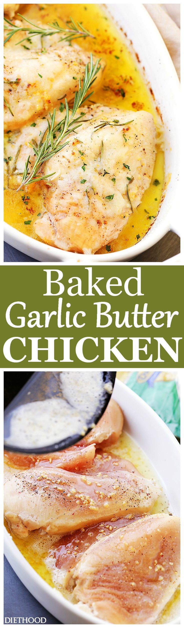 Baked Garlic Butter Chicken - Super quick, easy and SO delicious Garlic Butter Chicken with fresh rosemary and cheese. The perfect one pan dish for a weeknight!