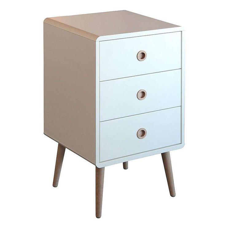 Soft Line 3 Drawer Bedside Table | Dunelm